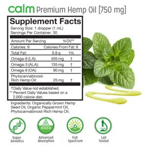 Calm Hemp Oil 750mg (Mint)